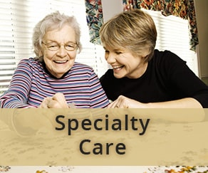 Senior care aide and senior woman
